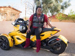 Woman on yellow motorcycle, Phoenix, 2016
