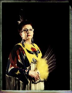 #9, Polish powwow dancer, Portrait taken at the local powwow convention, bleach Fuji Fp100c, negative scan, Kladno, Czech Rep. 2015