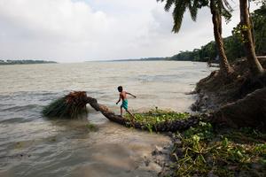 Eroded riverbank in Morrelganj, Bagerhat,Bangladesh