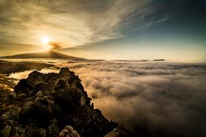 Volcano in the fog