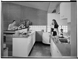 "Kitchen, George Turner residence, La Canada Flintridge, California, c. 1947. From the photobook ""Modern Photography and the American Dream"" © Maynard Parker"