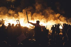During another assault of the Maidan by police all the tents were burned. Kiev, Feb. 18, 2014