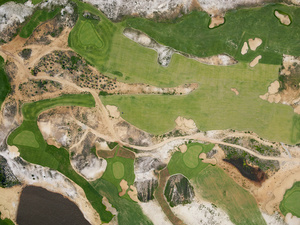 The irrigated Olympic golf course was built on an environmentally sensitive area, during a regional drought, Barra da Tijuca, 2015