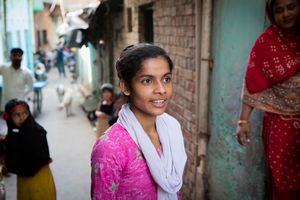 Rukhsar in the street outside her front door. Lucknow, India.