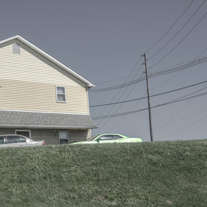 A Yellow House and a Lime Green Car above a Grassy Knoll.