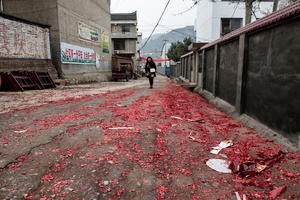 Red carpet of used firecrackers