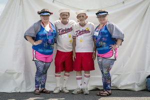 Twins Days 2015.  Brittany and Courtney Arnold (21) with David and Walter Oliver (79).