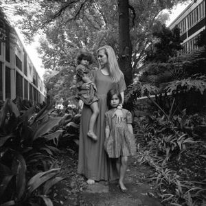 Bailey, Anna and Florence in the garden of their complex in Johannesburg, South Africa