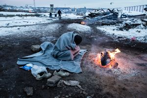 January 2017, Belgrade, Serbia. Behind Central Train Station. Because the borders of Serbia with Hungary and Croatia are more and more sealed, refugees are piling up in Serbia, now more than 7500.