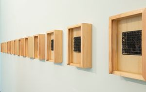 "Exhibition View-""Chan"" Part2, Installation of 13 wood pieces. © Aixia Li"