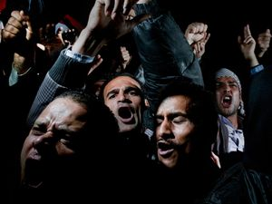 1st prize General News Singles: © Alex Majoli, Italy, Magnum Photos for Newsweek. Cairo, Egypt, 10 February.  Protesters cry, chant and scream in Cairos Tahrir Square, after listening to the speech in which Egyptian President Hosni Mubarak said he would not give up power.