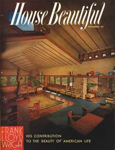 """Cover of House Beautiful's Frank Lloyd Wright issue. From the photobook """"Modern Photography and the American Dream"""" © Maynard Parker"""