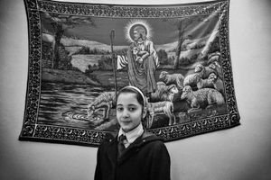 29.1.2015 Kirkuk , Iraq. Marta Ghanim, 11 years old, in her school dress. She studies in a Christian School.
