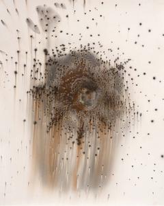 Untitled Work of Fire Star #1 23x18 Unique gunpowder generated gelatin silver print.