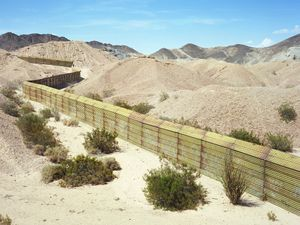 Border Wall between Baja California and California