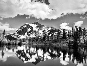 Picture Lake reflecting Mount Shuksan