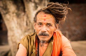 Shaivas Sadhu with matted hair, Kumbha Mela, India 2015
