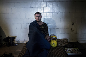 A Ukrainian soldier taken captive by rebels in the city of Luhansk