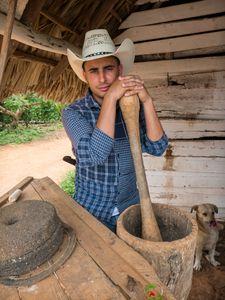 Young Tobacco Farmer and His Dog, Viñales, Cuba