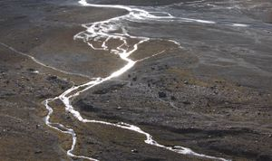 Glistening glacier channels