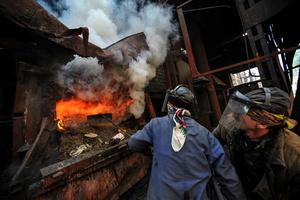 Dushanbe. Burning seized drug.