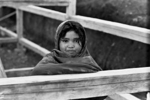 Village girl on a cold morning, 1973