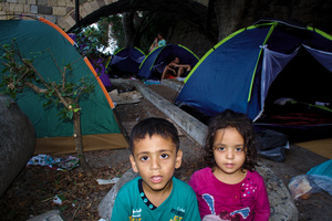 Refugees camping in Kos town