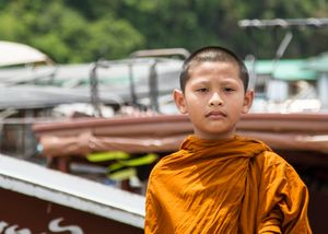 Young Monk arriving at Panyee Island. (4/2017)