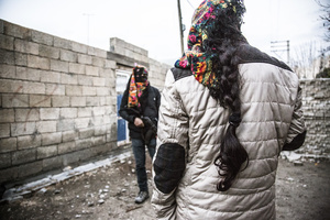 A female and male guerilla fighter (Deniz Bagok) of the YPS in Kurdish-dominated city of Nusaybin in southeast Turkey, near the Syrian border. Heavy gunfights took place during several curfews between Turkish government special forces and Kurdish YPS guerilla fighters.