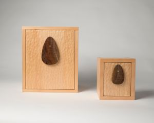 """Oliver Drake, 8""""x10"""" pinhole camera and 4""""x5"""" pinhole camera fabricated from old growth pine timber extracted from the bottom of the Ottawa River."""