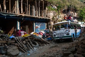 Buses are busy and jam with many people who going back to their family at Belaphi village, Sindhupalchok district