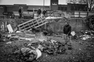 Landlords destroy the camp.