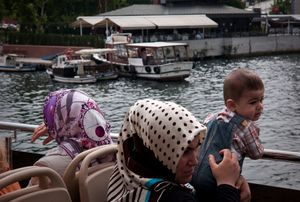 Women and baby on the ferry to Eyup