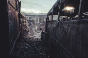 Burned and icy buses after several days of confrontation between protesters and police on  Hrushevskoho street. Kiev, Jan. 20, 2014