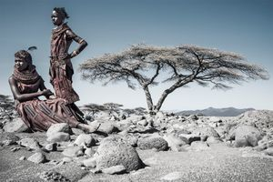 Turkana Girls in dry riverbed.