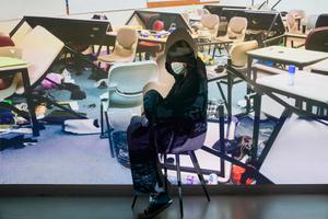 PolyU student hiding in classroom