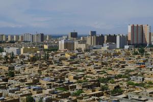 An aerial view of modern city of Kashgar, Xinjiang Uighur Autonomous Region, China.