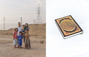 A portrait of Hayder, 32, his wife Zahraa, 27, and their kids Nabaa, Moustafa, Muhamed and Fadel. The portrait has been paired with the holy Quran that Hayder took with him when leaving his home in Bartella. 24/05/15, Chermo camp, Chamchamal, Iraq.