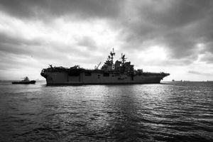 USS America Departing, San Francisco CA, October 2014