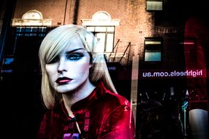 Sultry Manikin and street reflection, Darlinghurst