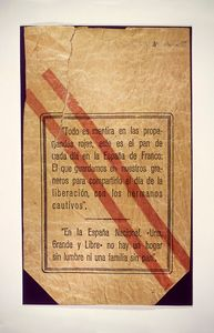 Bread bag with Francoist propaganda. From the Spanish Army Museum