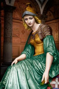 Emilia Filonardi at 20 as Minerva, 1863, after G B Lombardi