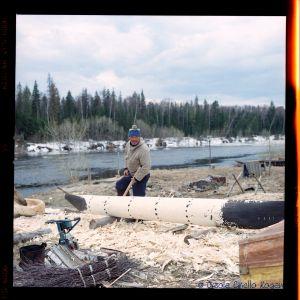 Dugout indigenous canoe - Somewhere Khanty-Mansiysk Region, Siberia