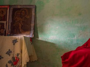 Religious Portraits on Table. Arandai, Chapada Diamantina. Bahia, Brasil. 2017.
