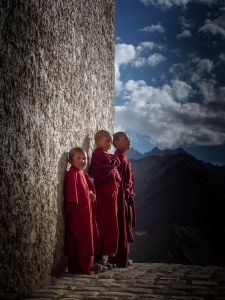 Three young monks