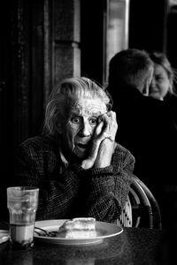 Woman at cafe Oslo 2013