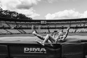 Jirka during a high jump at the European Veterans Championship