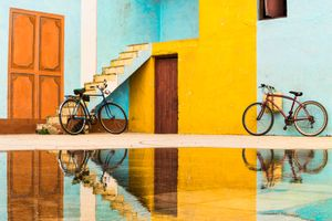 Bicycles, reflecting, Trinidad.