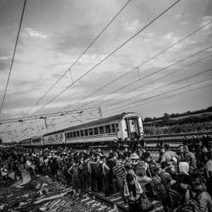 Hundreds of refugees wait to board the train in Tovarnik, Croatia.