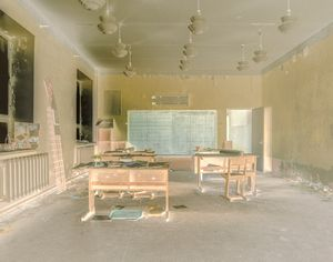 The abandoned children's class room in the Russian coal mining ghost town Pyramiden in Svalbard.